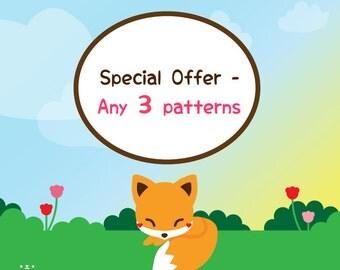 Amigurumi Pattern Bundle, PDF Pattern Bundle, Crochet Pattern Bundle, Knit Pattern Bundle, Special Offer, Choose Any 3 PDF Patterns