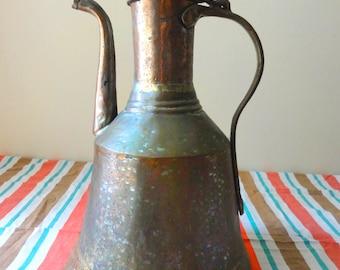 Vintage Copper Water Jug Pitcher Turkish Trabzon