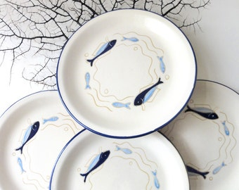 Vintage Fish Side Plates Danish Modern Aksini Knabstrup, Denmark