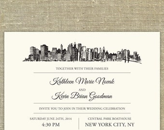 New York City Skyline Wedding invitation suite; SAMPLE ONLY