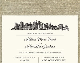 new york city skyline wedding invitation suite sample only