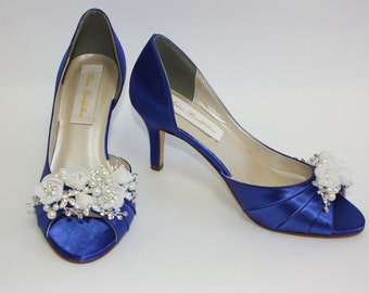 Wedding Shoes - Flower Shoes - Handmade Wedding - Sapphire Blue - Dyeable Choose From Over 100 Colors - Custom Shoes - Hand Beaded Parisxox