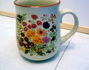 Vintage Mug by Northcraft, Floral Pottery Cup, Tea/Coffee, Made in Korea, Stoneware Mug, Wild Flowers
