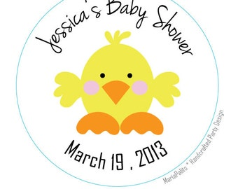 Baby Shower  stickers Baby Chick , Personalized Baby Shower PRINTED round Stickers, tags, Labels or Envelope Seals, Duck Baby Shower,  A579