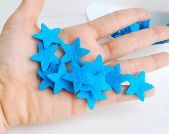 Felt Stars 1.0 inch Star Die cuts,  SET of 50 Stars In turquoise Blue A710