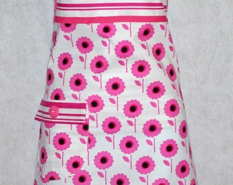 Pink and White Apron, Pretty Flowers And Stripes, Personalize With Name, Ladies Chef Apron No Shipping Charge, Ready To Ship TODAY, AGFT 351
