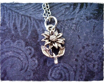 Silver Daisy Necklace - Silver Pewter Daisy Charm on a Delicate Silver Plated Cable Chain or Charm Only