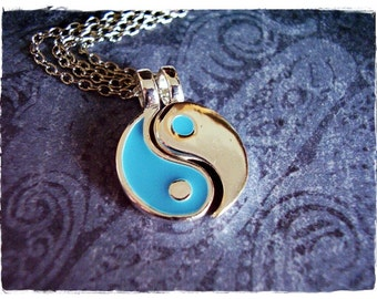 Blue Yin and Yang Duo Necklace - Blue Enameled Silver Plated Yin and Yang Charms on TWO Delicate Silver Plated Cable Chain or Charms Only
