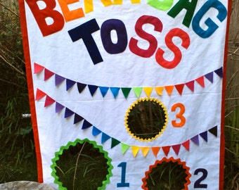 Bean Bag Toss Party Game with Bean Bags - Rainbow Theme