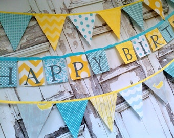 Happy Birthday Banner Yellow Aqua and Gray Chevron Dots Modern Hand painted Fabric Banner Party banner decoration