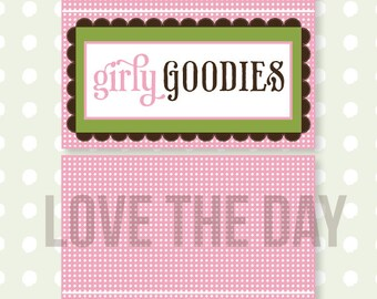 So Girly Baby Shower PRINTABLE Fold Over Tags (INSTANT DOWNLOAD) by Love The Day