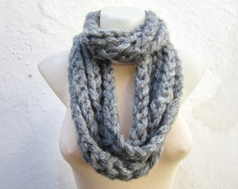 Chunky Scarf, Scarf infinity, Bulky Loop Necklace, Knit Circle, Finger Scarf, Knitting Accessories, Chain Grey Scarf, Woman Winter Fashion