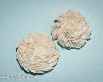 2 Natural Flower Fascinators - Sola Flowers, Tapioca Wood - natural/ cream white, ivory