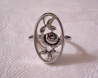 Rose Flower Ring Silver Tone Vintage Avon 1975 Rosemonde Size 7 Adjustable Inner Band