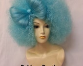 Blue Afro Bow Wig