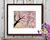 Watercolor Print Pink Cherry Blossoms Cherry Tree Abstract Art Nature 8 x 10 reproduction of my original watercolor painting matted to 11x14