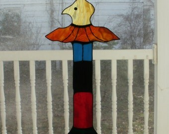 Large Eagle Totem Stained Glass Suncatcher