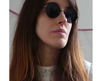 Vintage Deadstock Lennon Round Circle Black Sunglasses Grunge