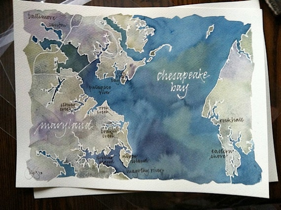 Custom Painted Map of Your Favorite Lake, Bay, or Island, original Watercolor Painting, 9x12 or 11x14 in.