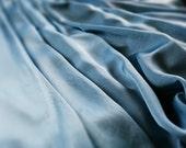 Sky Blue Silk Dress - 1960ies draped short sleeved Greek maxi Gown