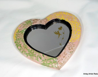 Hummingbird mirror heart shaped earth friendly reuse wood frame hand printed collage pink green yellow