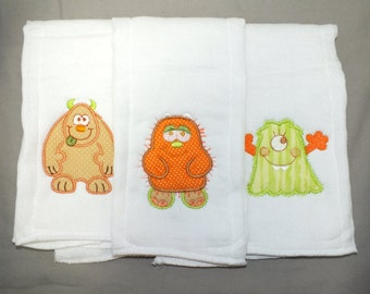 Baby boy Monster burp cloth set monster baby burp cloths personalized burp cloths