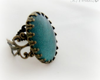 Teal holographic ring, vintage style jewelry, antique gold adjustable ring