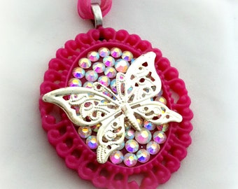 Cute pink butterfly necklace, whimsical jewelry, spring necklace, gift for her