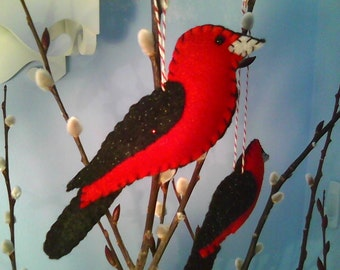 Scarlet Tanager Felt Bird Ornament