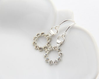 Crystal dangle earrings sterling silver vintage Swarovski crystal modern wedding bridal jewelry