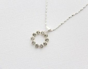 Crystal necklace sterling silver vintage Swarovski modern wedding bridal accessories jewelry