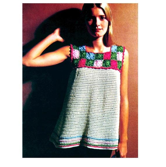 Crochet Granny Square Tunic Pattern : Vintage Crochet Pattern Granny Square Boho Smock by ...
