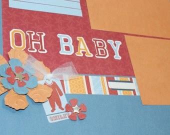 """Premade Baby Boy Scrapbook Album Baby Scrapbook Album Little Boy Scrapbook Baby Shower Gift Baby Boy's 1st Year Album 20 pages, 12"""" x 12"""""""