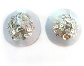 LIVIA  Silver Blue satin and silver sequins Nipple pasties - bridal accessories
