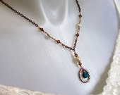 Centered - Copper Necklace with Pearls, Topaz Swarovski, and Blue Magnesite