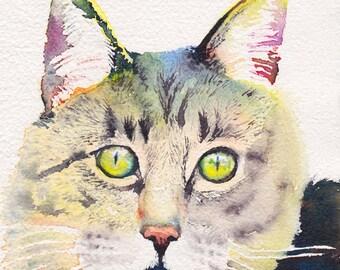Cat Portrait 8x10 CUSTOM original watercolor