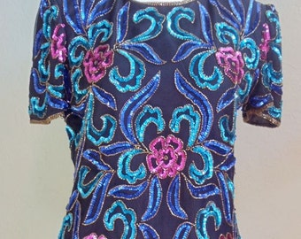 """Vintage Papell Boutique Evening Top Embellished with Stylized Sequin Flowers and Leaves Bust 38"""" Waist 34"""""""