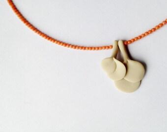 minimal organic polymer clay necklace, nO.212 '' retro leaves between orange corals''