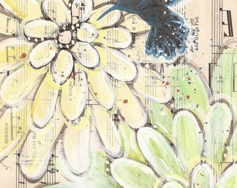 mosso... recycled book art original painting on Antique1950s sheet music book page, by Cat Seyler designs