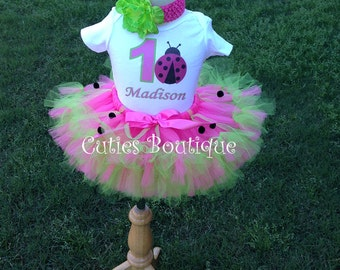 Hotpink Green Ladybug Birthday Outfit Set With Petti Tutu And Personalized Shirt --All Sizes 6 9 12 18 24 Months 2T 3T 4T