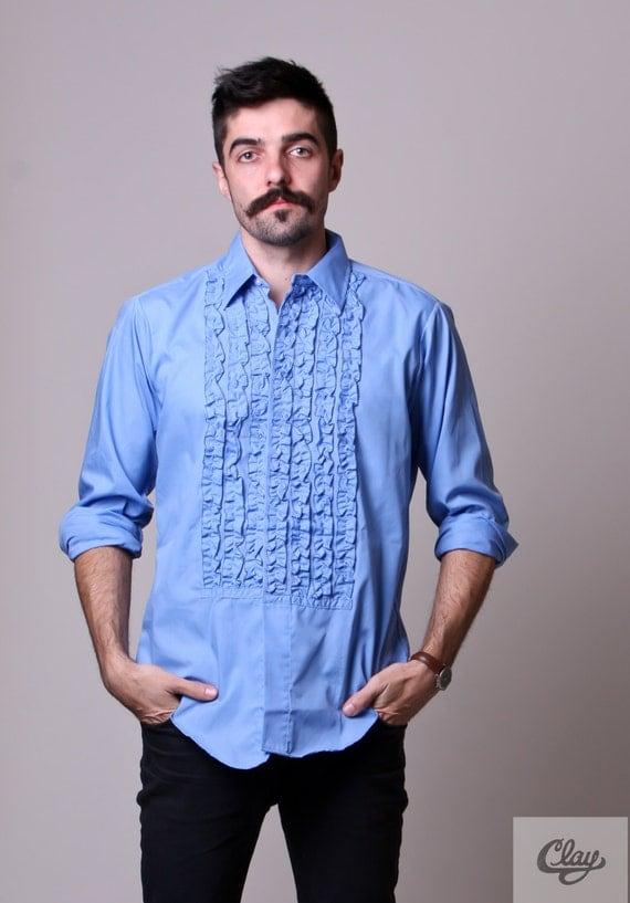 70s Mens Shirt Vintage Ruffle Shirt Mens Tuxedo Shirt
