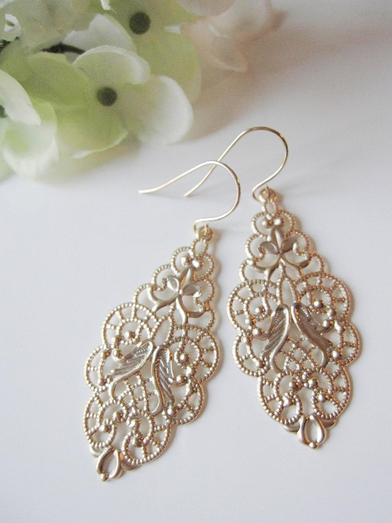 Gold Chandelier Earrings, Oval Marquise Filigree Teardrop, Scalloped Edge, Modern, Everyday