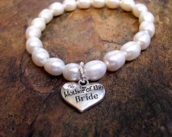 Mother of the Bride Pearl Bracelet, Bridal Bracelet, White Pearl Bracelet, Mother of the Bride Jewelry