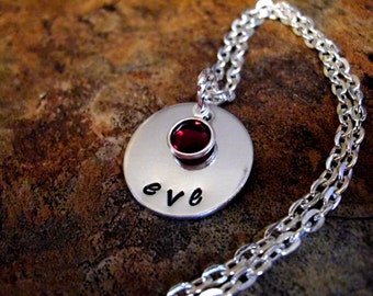 Personalized Jewelry, Hand Stamped Jewelry, Personalized Necklace, Birthstone Necklace, Name Necklace, 1 + Discs