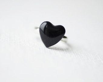 Black Glitter Heart Ring