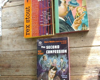 NERO WOLFE. by. Rex Stout Mysteries. The Second Confession. The Silent Speaker. &. Might as Well Be Dead. 3 vintage. 1940s. 1950s. book lot