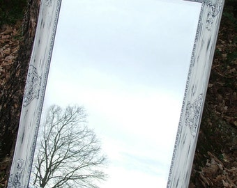 Shabby Chic Mirror, Shown in White or buy in a Custom Color Large 42 x 30, Seaside Beach Cottage,Salon,Shabby Chic Decor
