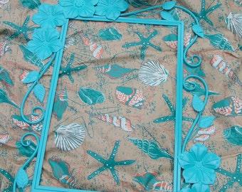 HAWAIIAN Mirror, Beach Cottage  Mirror, Decorative Mirror or Chalkboard, Shown in Beachy Blue .Seaside, Nursery,Choose Colors, 36 x 26