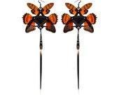 KESHI / Black Python and Orange Cicada Kanzashi Long Dangle Earrings