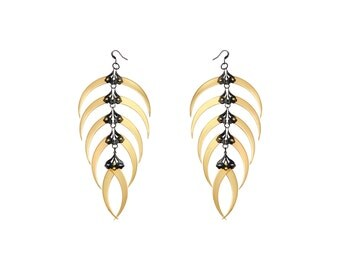 RATTLESNAKE / Gold Chandelier Earrings / Free Shipping